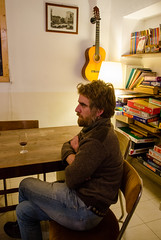 Paolo Cognetti in Scighera (mangaddicted) Tags: 4049years bovisa milan premiostrega award bar beard book cool famous glasses interesting italian male man mountaineering pullover redhair scarf sitting table talking underground writer naturallight posed portrait drinking wine dog exclusive pub