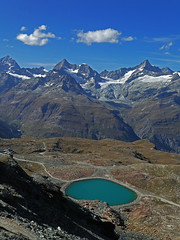 D20040.  Glacial Lake. (Ron Fisher) Tags: schweiz suisse svizzera switzerland kantonwallis valais cantonvallese europa europe zermatt mountain snow diealpen thealps swissalps alpessuisses schweizeralpen alpisvizzere gornergrat panasonic lumix tz90 panasoniclumixtz90 compactcamera