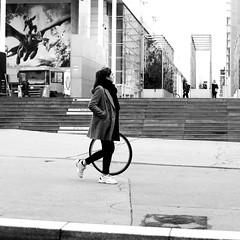 Walking her wheel (pascalcolin1) Tags: paris13 femme woman roue wheel photoderue streetview urbanarte noiretblanc blackandwhite photopascalcolin 50mm canon50mm canon
