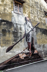 Rowing in the street (Cédric Nitseg) Tags: penang nikon malasia georgetown street homme city streetart greelow malaisie voyage man urban backpacker travel barque human rue art d7000 ville travelling urbain