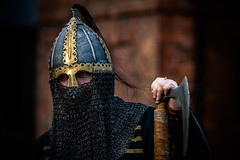 Chainmail Mask_ (Andy..D) Tags: commandery d500 worcester worcestercommandery fjr5 armour sword menatarms manatarms knight poleaxe battle axe portrait medieval chainmail reenactment helmet helm shield
