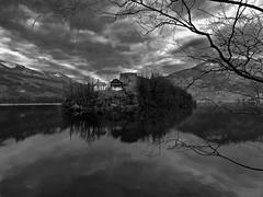 Haunted (martinus.structor) Tags: blackandwhite bnw bw lake switzerland schweiz island castle insel see lauerzersee clouds wolken water schloss atmosphere groupenuagesetciel