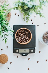 photo of bowl filled with coffee beans on black digital scale at 39 grams - Credit to https://myfriendscoffee.com/ (John Beans) Tags: coffee food flatlay coffeebean cafe coffeebeans shopbeans espresso coffeecup cup drink