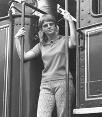 Sally and the 4501, 1974 (clarkfred33) Tags: lady railfan southernrr locomotivecab pose friend excursion jacksonville 1974 vintage vintagephoto ride enjoy famouslocomotive steamlocomotive femalerailfan cab 4501history