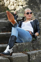 Anna 119 (The Booted Cat) Tags: sexy blonde model girl tight blue jeans leather cowboyboots cowgirl boots jacket sunglasses gloves