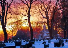 Winter Light (bjorbrei) Tags: graves graveyard churchyard cemetery chapel church trees branches snow winter sunset sky grefsen oslo norway