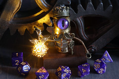 Robot minion king dice guardian with purple eye (Catherinette Rings Steampunk) Tags: modron sculpture dungeons dnd adoptables fantasy handmade etsy metal art artisan wirewrapped figurine creatures weird oneeyed cyclopean brass copper dice cana canadian glowing cute