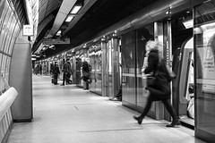 02 Westminster Tube - Motion on a Third (Geoff France) Tags: underground commuting tube londonunderground mono monochrome blackandwhite street streetphotography urban city london