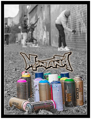 5/52 Advertising Photography (Suggsy69) Tags: nikon d5200 552 52weekproject week52019 startingtuesdayjanuary292019 52weeksthe2019edition advertising advertisingphotography advert brand montana montanagold spraycan spraycans paint painters artist artists graffiti art logo photoshop border edited shoreditch london eastlondon outside outdoors exterior cans can branding