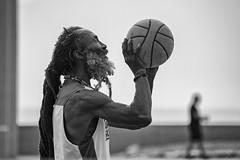Shooting Hoops (jan lyall) Tags: venicebeach losangeles dreadlocks fit muscular basketball california janlyallphotography monochrome blackandwhite ocean oceanside beach hoops beard