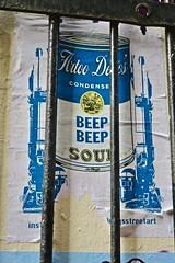 Beep Beep Soup, London, UK (Robby Virus) Tags: london england uk unitedkingdom greatbritain gb english british beep soup campbells can condensed artoo paste pasted paper pasteup street art torn star wars