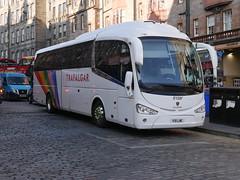 Fairline Coaches of Glasgow Scania K360IB4 Irizar i6 F10LNE, in Trafalgar Tours livery, at Lawnmarket, Edinburgh, on 27 February 2019. (Robin Dickson 1) Tags: craigofcampbeltown westcoastmotors busesedinburgh fairlinecoaches f10lne scaniak360ib4 irizari6 yr15vcc hodgsoncoachesofbarnardcastle trafalgartours