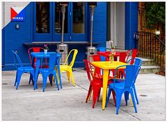 2019/062: Chair Cheer (Rex Block) Tags: 2019062chaircheer nikon d750 dslr 50mm f18g washington dc dupontcircle rstreet 17thstreet mikko colors bright scandinavian scan cheer chairs patio restaurant project365 365the2019edition 3652019 day60365 01mar19