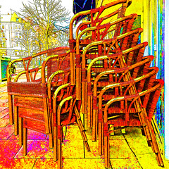 chairs (j.p.yef) Tags: peterfey jpyef yef street streetcafe restaurant chairs digitalart iphone square photomanipulation germany hamburg