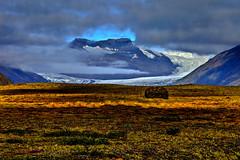 Heinaberjokull glacier, Iceland (klauslang99) Tags: klauslang nature naturalworld europe iceland landscape glacier heinaberjokull grass clouds mountains