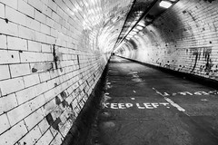 The Atmospheric Greenwich Foot Tunnel, London (Aethelweard) Tags: london england unitedkingdom gb tunnel streets under river blackandwhite bw historic old creepy spooky eerie city