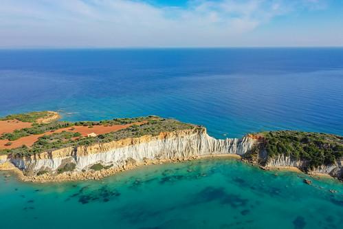 Gerakas Strand Lehmfelsen Zakynthos Greece Aerial