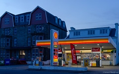 Shell fuel garage (Rourkeor) Tags: 35mm 35mmzeisssonnartlens argyllbute carlzeiss dunoon garage rx1r scotland sony uk colourful forecourt fuel fuelpumps fuelstation fullframe unitedkingdom gb sonyflickraward