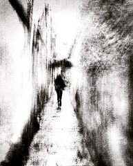in-between state of mind . . . (YvonneRaulston) Tags: impressionist emotive moody texture figure white black bw shower rain umbrella