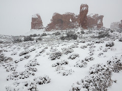 Parade Of Elephants Storm (xjblue) Tags: 2018 archesnationalpark newyearsweekend southernutah utah canyon canyonlands cold desert governmentshutdown sandstone snow trip winter storm landscape naturalarch natural span