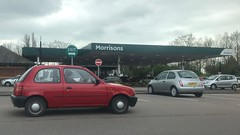 Shape (Sam Tait) Tags: hatchback door 3 morrison's petrol 1996 small car classic retro shape red march k11 micra nissan