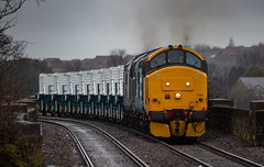 DRS Class 37/4's no's 37402 & 37425 approach Mansfield Station on 07-03-2019 with brand new Nuclear Flasks from W.H Davis bound for Crewe (kevaruka) Tags: class 37 syphon growler 37402 37425 drs direct rail services nuclear waste cnd british network english electric mansfield nottinghamshire winter 2019 march kevin frost gloom dull dreary day rain rainy railway railfreight trains train clouds cloudy cold flickr front page thephotographyblog telephoto canon eos 5d mk3 ef100400 f4556l 5d3 5diii colour colours color colors blue yellow outdoor railroad locomotive tree sky people photoadd boobs milf sexy wife
