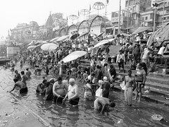 varanasi 2019 (gerben more) Tags: varanasi benares blackwhite monochrome people ghat ritualbathing ritual river ganges ganga water