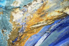 Ochre and blue (Djaron van Beek) Tags: abstract myinterpretation texture dof depthoffield damaged colorful colourful mural paint minimal minimalism arty bokeh brightcolors decay closeup partofawhole layersofpaint djaron djaronvanbeek chaotic lines