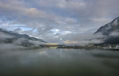 Alaska - bridge at foggy port Juneau DSCF5633 (Alleung555) Tags: alaska juneau sunrise foggy cloudy morning bridge dock cruise port