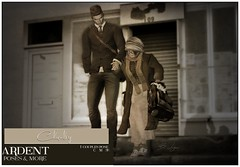 Ardent Poses - Chivalry Ad (Ardent Poses) Tags: secondlife second life sl avatar 2nd 2ndlife avi virtual vr 3d inworld poses pose ardent photography people exclusive avatars event love couple couples release new hold broderick logan ena roane enaroane bento advertisement sidewalk sale ardentposes