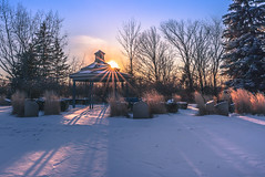 Chilly sunset (Daniel Q Huang) Tags: sunset pavillion coulds blur sparkling sunburst sunstar