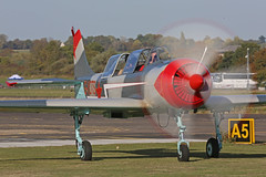 G-YOTS Yakovlev Yak-52 Russian Air Force Colours Prop Blur Nose On North Weald 29th September 2018 (michael_hibbins) Tags: aeroplane aerospace aviation aircraft airplane air aero airfields airshow airport airports aeroexpo civil general plane planes civi united kingdom uk gyots yakovlev yak52 russian force colours takeoff north weald 29th september 2018 g british britian england english europe european