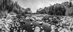 Black & White Epic Multishot Panorama Stitched in Lightroom CC! Nikon D850 Yosemite National Park Winter Valley View Bridalveil Falls El Capitan Snowy Merced River Rocks! Yosemite NP Elliot McGucken Fine Art! Nikon D850 & AF-S NIKKOR 14-24mm F2.8G ED (45SURF Hero's Odyssey Mythology Landscapes & Godde) Tags: nikon d850 yosemite national park winter valley view bridalveil falls el capitan snowy merced river rocks np elliot mcgucken fine art snow photography afs nikkor 1424mm f28g ed high res 4k 8k photos epic multishot panorama stitched lightroom cc