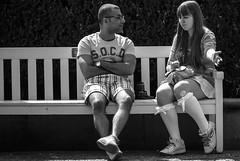 On a bench in Kungsträdgården in Stockholm, Sweden 25/7 2012. (photoola) Tags: stockholm kungsträdgården bänk par street sv photoola bench mono blackandwhite monochrome