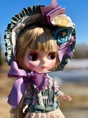 Claire enjoyed her first stroll by the duck pond at the dykes and has declared her love for her new home. 🌾💜☀️Biscuits and tea to follow ☕️ (Painters Life) Tags: doll edwardian victorian takara clearlyclaire blythe