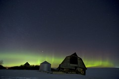 February 27 2019 aurora (John Andersen (JPAndersen images)) Tags: abandoned alberta aurora barn canon curtains farm house night pond reflections silo snow winter