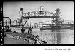 1935  Dunn Memorial and Greenbush Bridges (albany group archive) Tags: 1930s hudson river old albany ny vintage photos picture photo photograph history historic historical