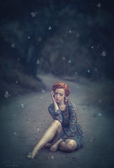 Daydreaming ({jessica drossin}) Tags: jessicadrossin portrait dreamy blue butterflies butterfly redhair wwwjessicadrossincom