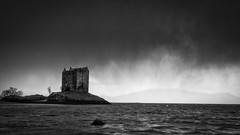 Storm approaching castle stalker (Twenty-21) Tags: castle stalker scotland west coast snow storm blizzard weather mono black white seascape mountains sea
