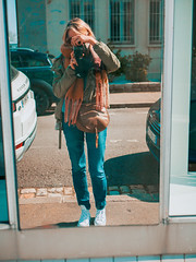 P1000633 (rozenn.rgr) Tags: camera lumixgx80 lumixgx85 lut brest bretagne girl panasonic lumix 25mm 25mmf17 city reflect reflection mirror 43 m43 micro43 lumixg blond spring converse autoportrait sun woman