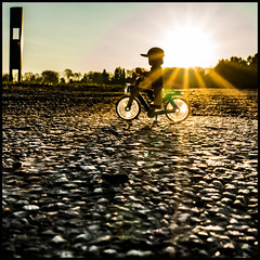 cycling in the warm sun (genelabo) Tags: würmtal radeln rattour spring frühlingserwachen beautiful outdoor natur nature trees bäume sun sonne street würmstrase gegenlicht lego radl minifig minifigure toy