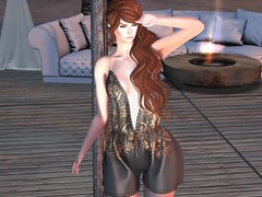Entrance no.389 (Curiosse) Tags: secondlife romper 2019 {indyra} gray gold floralstamps spaghettistraps beautiful april