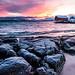 Sommarøy, les rochers saupoudrés de neige