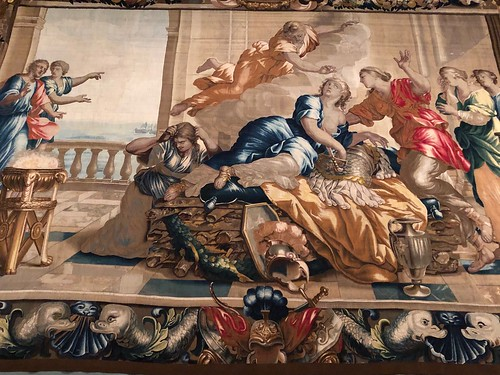 Death of Dido, 1658-1670s, wool and silk tapestry (woven by Michael Wauters Tapestry Manufactory, Antwerp). Norton Simon Museum, Pasadena, California, February 2019