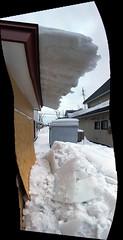 Another Day, Another Glacier Fall 3 (sjrankin) Tags: 19february2019 edited snow ice roof weather winter thaw window board snowbank kitahiroshima hokkaido japan panorama east