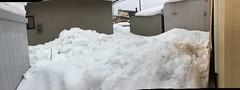 Snow and Ice on the Ground 1 (sjrankin) Tags: 20february2019 edited snow weather winter snowbank kitahiroshima hokkaido japan panorama neighborhood houses