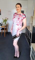 Too pale (Rikky_Satin) Tags: floral dress flowerprint highheels pumps crossdresser crossdressing transvestite tgirl tgurl transgender m2f