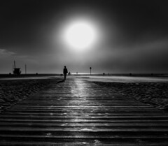 The Edge of Everything (Greg Adams Photography) Tags: sunset california southerncalifornia calif ca walkway beach wood silhouettes sun glare pacific ocean waterfront lifeguardstation hut lifeguard dusk westcoast travel bw blackandwhite colorblind monochrome hhsc2000 solitude clouds sky dark solo person waiting 2017 la scifi