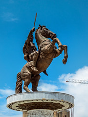'Warrior on a Horse' monument (Alexander the Great) - Skopje, Macedonia 2 (Russell Scott Images) Tags: macedoniasquare statue monument warrioronahorse alexanderthegreat fountain bronze skopje macedonia