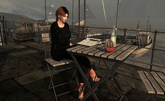 Off season .. (Larah Sa'fir) Tags: pretty girl redhead harbour boats cafe reading spring